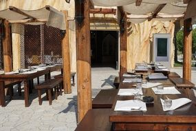 Restaurant wooden interior out