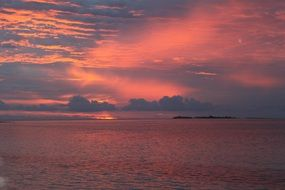 pink sunset over the Maldives