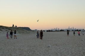 People walking along sand beach in the evening