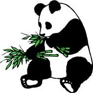 Cartoon Panda Eating Bamboo