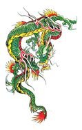 Chinese green Dragon drawing