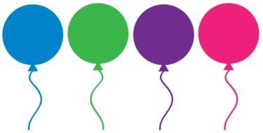 colored festive balloons on a white background