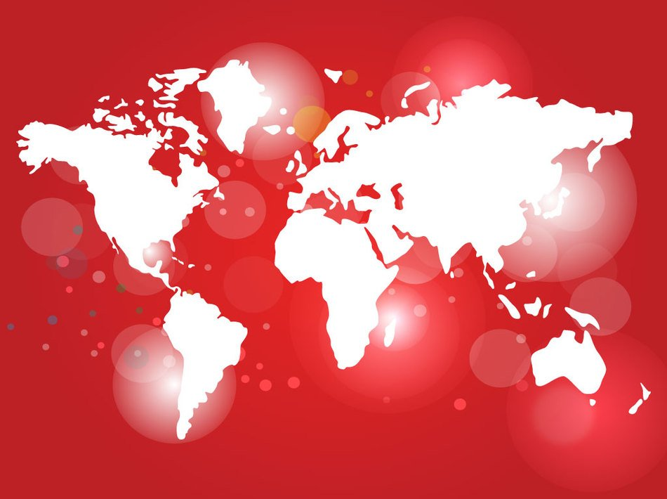 clipart of the red world map