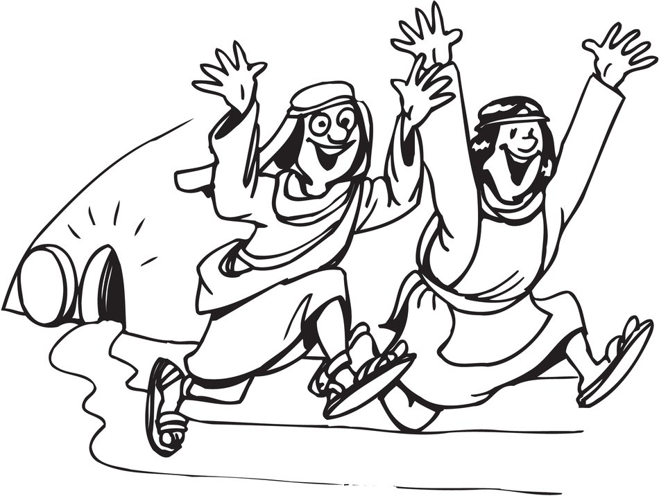 Jesus risen, Easter Coloring Page