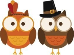 Thanksgiving drawing, two Owls