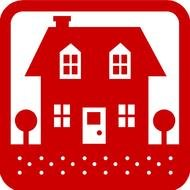 house as a red pictogram