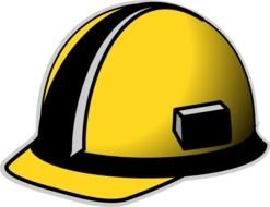yellow and black Hard Hat, drawing