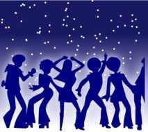silhouettes of dancing people on a blue background