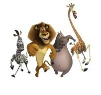 cartoon happy running animals, madagascar characters