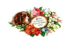 Antique Images Free Dog With Flowers On Victorian Scrap N2