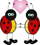 drawing of a pair of ladybugs with a heart