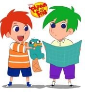 Phineas And Ferb Cartoon Characters On Surf Board Free Image