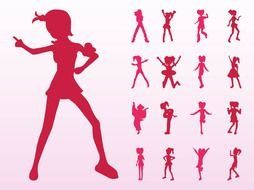 Jumping And Dancing Girls Silhouettes drawing