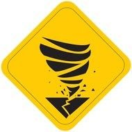 yellow tornado warning sign