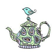 Vintage colorful Teapot, drawing