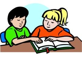 boy and girl reading book, drawing