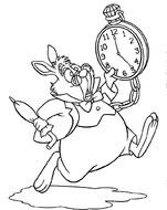 black and white picture of a hare with a clock