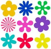 Colorful different flowers clipart