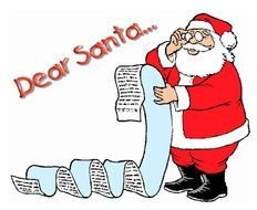 cartoon Santa reading very long letter
