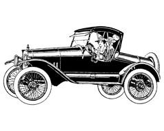 black and white drawing of a girl in an old car