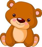 drawn cute brown teddy bear