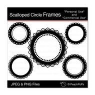 Black and white scalloped circles clipart