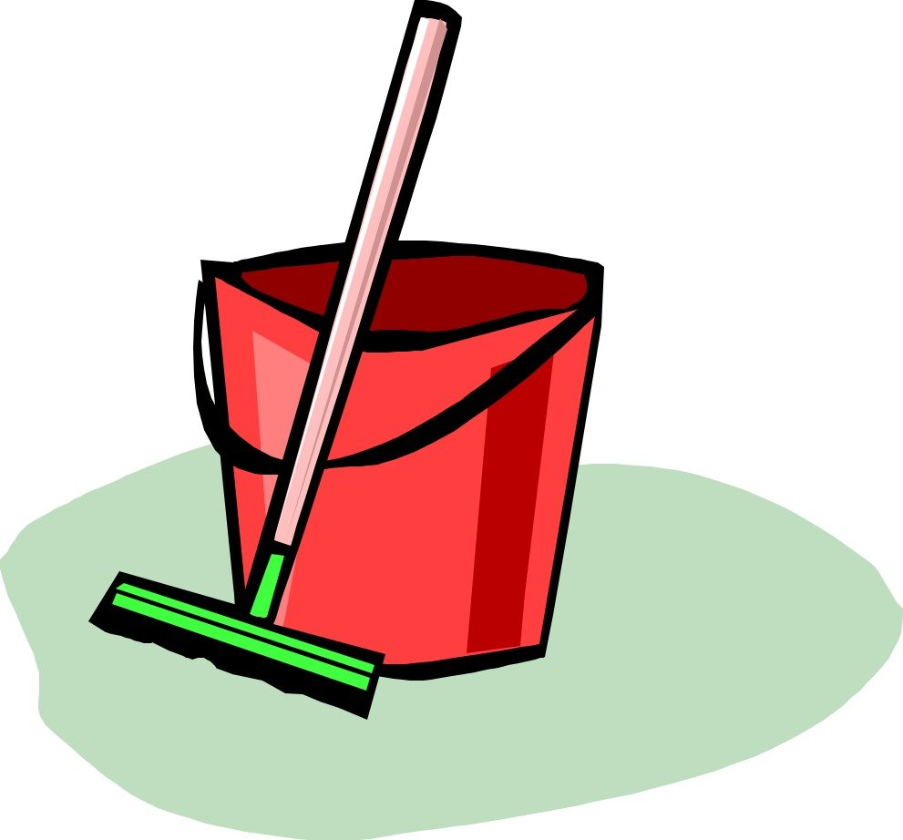 red bucket and green broom