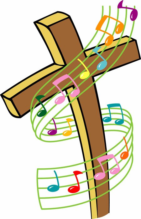 cross and musical notes drawing