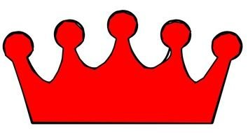 painted red crown on a white background