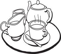 black and white picture of a tea set on a tray