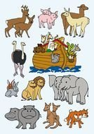 painted animals and Noah's ark