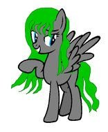gray pony with green mane
