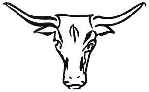 black and white cow head with horns