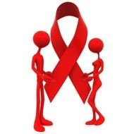 male and female figures with red ribbon, cancer awareness, 3d render