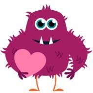 drawn purple monster with a heart