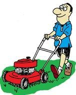 man with a lawn mower as a graphic illustration