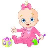 painted baby in a pink suit with toys
