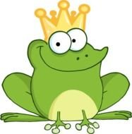clipart of the green frog with a crown