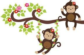 two monkeys on a flowering branch as a graphic illustration