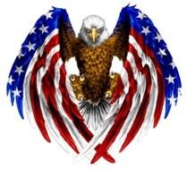 eagle with wings in the colors of the american flag as a picture for clipart