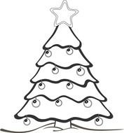 black and white drawing of a christmas tree with toys