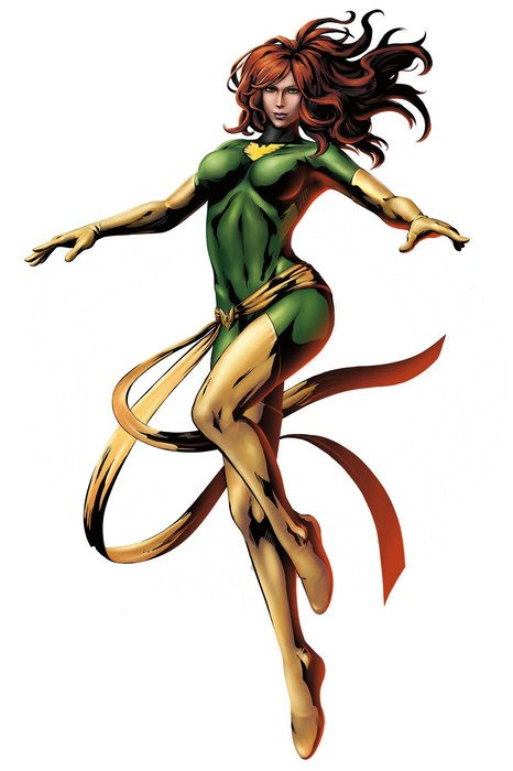 painted super hero girl in a green suit