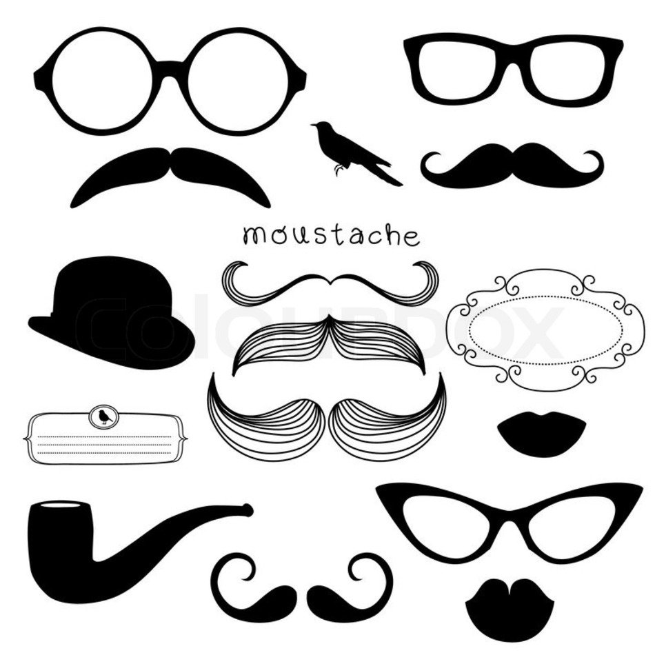 Clip art of accessories and mustaches