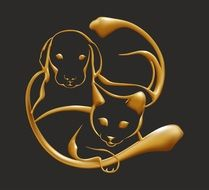 cats and dogs surround pattern with gold