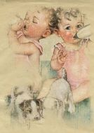Babies Vintage Collage Twins