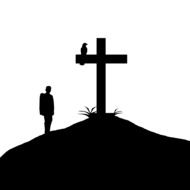 drawing silhouette of a cross and man
