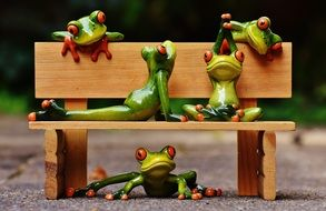 ceramic Frogs Yoga on Bench