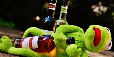 soft kermit with bottle of wine