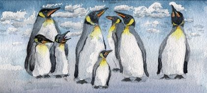 Drawing of the emperor penguins