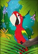 drawing a parrot in the forest